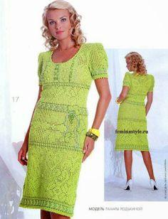 crochelinhasagulhas: Vestido verde em crochê filé