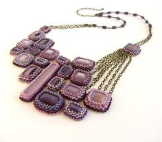 All sizes | Modern Geometric Bead Embroidered Constellation Bib Necklace in Purple | Flickr - Photo Sharing!