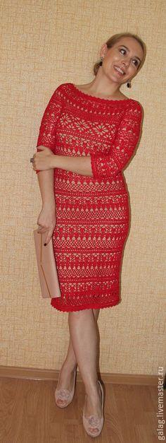 """Купить Платье """"Дольче"""" - ярко-красный, кружево, кружевное платье, красное платье, платье летнее"""