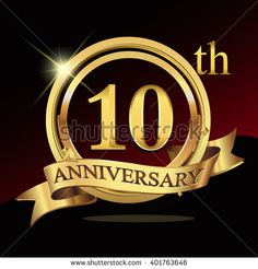 10th golden anniversary logo, 10 years anniversary celebration with ring and ribbon. - stock vector