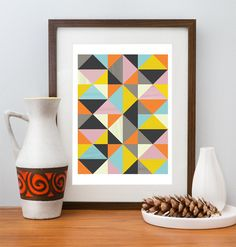 Abstract print, Geometric art, Mid Century modern, Modern art, Scanidnavian design, wall decor,  A3. $19,00, via Etsy., interested collection to generate Scandanavian feel.  Is it too busy or supportive?  I like and don't like the pinecone addition for natural element - and think there could be a better prop using natural elements (pussy willows?), #stylelab