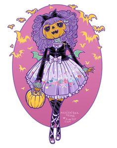 Halloween lolita. This is super cute! I love the purple and orange ^^