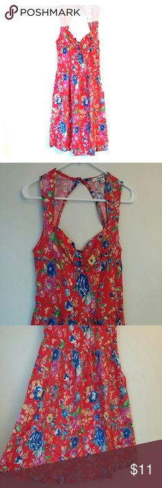 Forever 21 red floral dress This cute floral fit and flare dress is a size small by forever 21. The chest is princess cut, sleeveless with a sexy key hole on the back.  No defects. Great condition. 100% Rayon. Forever 21 Dresses Mini