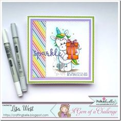 Unicorn with Gift by Pink Gem Designs from Polkadoodles. Pink Cards, Southern Girls, Spectrum Noir, Digi Stamps, Copic, Happy Friday, Colouring, I Card, Unicorn