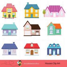 Houses Clipart Houses Clip Art Buildings Clipart Cottage   Etsy Building Illustration, House Illustration, Art Drawings For Kids, Art For Kids, House Clipart, House Template, Building For Kids, House Drawing, Digital Art Tutorial