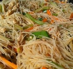 Filipino Pancit Bihon Recipe Noodles for Long Life is part of food-recipes - Stir fried rice noodles cooked with chicken or pork and vegetables like cabbage, carrots, celery, snap beans or green beans Filipino Pancit, Filipino Dishes, Lumpia Recipe Filipino, Filipino Noodles, Filipino Fried Chicken Recipe, Asian Recipes, Healthy Recipes, Ethnic Recipes, Vegetarian Recipes