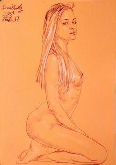 Originale AKT Zeichnung Nude Drawing Line Study auf Papier on Paper A3 2331