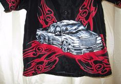 Montage Boys Shirt Sz 5-6 Black Red Gray Truck Front Back Scrolls Clearance  #Montage #Everyday