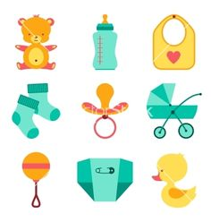 Newborn baby stuff icons set vector - by incomible on VectorStock®