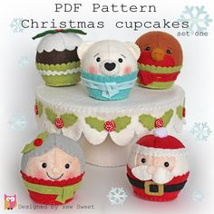 Christmas cupcakes set one PDF, instant doenload, holidays, cupcake, playfood…