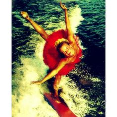 Color photograph, WATER SKI BALLERINA 11x14 print, beach house decor,... ($44) ❤ liked on Polyvore