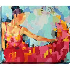 Equally at home in an artful collage or on its own as an eye-catching focal point, this canvas print features an impressionistic flamenco dancer design....
