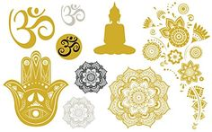 Metallic Gold  Silver Yoga Temporary Tattoo Set 9 Designs 18 Temporary Tattoos *** More info could be found at the image url. Note:It is Affiliate Link to Amazon. #harrystyles