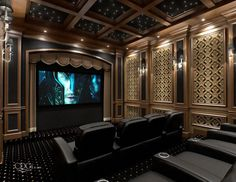 awesome theater room ceiling with beams and stars. Love the paneling as well. A little much, but very cool.