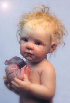 """The Foundling"", 7 inch OOAK Polymer clay figure (sculpture/doll) by Cynthia Malbon..."