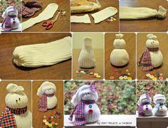 leuke sneeuwpop sokken, makkelijk om zelf te maken