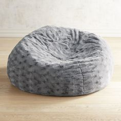 Fuzzy Charcoal Bean Bag Gray