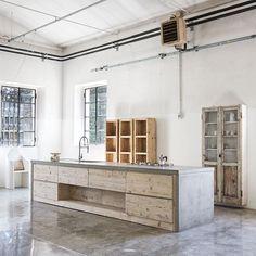 Chic salvage wood furniture designs: Katrin-Arens showroom Villa d'Adda Italy, Davide Lovatti photo | Remodelista