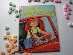 Hard to Find- Vintage 1954 Elf Children's Book- Johnny THE FIREMAN- A Rand McNally Elf Book by ScrapPantry, $6.00 USD