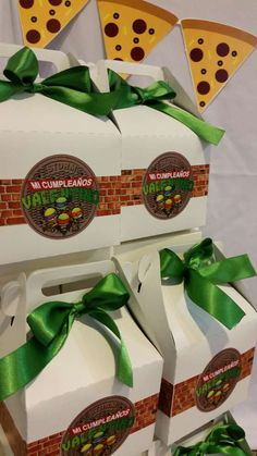 Fun favor boxes at a Teenage Mutant Ninja Turtles birthday party! See more party ideas at CatchMyParty.com!