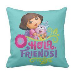 Dora The Eplorer | Hola Friends! Throw Pillow