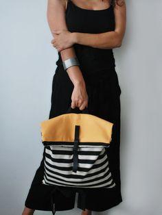 Summer backpack & messenger bag Striped Yellow canvas bag Handmade women bag Designer bag Minimalist colorful rucksack Gift for her
