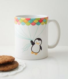 Fly High Penguin Mug Cup by MyDearDarling on Etsy https://www.etsy.com/listing/113265926/fly-high-penguin-mug-cup