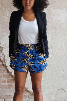 Afrikanische Wachs Drucken hohe Taille blauen Shorts mit Taschen