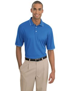 Nike Golf is known for classic polos engineered to take comfort to the next level.hree-button placket. Pearlized buttons are selected to complement the shirt color. The contrast Swoosh design trademark is embroidered on the left sleeve. The Dri-FIT fabric technology delivers superior moisture management, while the stitch-trimmed shoulder panels and gussets make a distinctive difference.