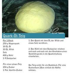 Grundrezept: Quark-Öl-Teig The post Grundrezept: Quark-Öl-Teig appeared first on Himbeeren Rezepte. Cheese Recipes, Bread Recipes, Baking Recipes, Snack Recipes, Baked Mac, Baked Ziti, Baked Potato, Half Baked Harvest, Baked Chicken Recipes
