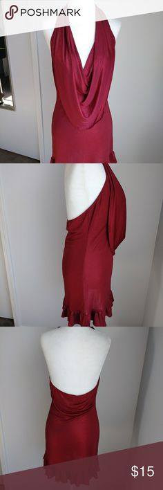 Burgandy shimmer halter cowl neck dress Burgandy dress with shimmer all throughout ruffled hem and cowl neck Size large Dresses Mini