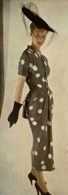 It's all there in this sartorially splendid ensemble...1948 Jacques Fath
