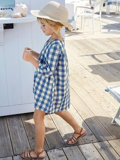 Cyrillus Blue Cotton Machine washable at Checked dress ✓ Shipping in 24 hours ✅ 28 days to return ✓ Free returns ! Blue Gingham, Gingham Check, Gingham Dress, Striped Dress, Blue Dresses, Girls Dresses, Summer Dresses, Marine Uniform, Check Dress