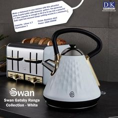 Swan Gatsby Kettle Overview Generous 1.7L capacity Boil enough water for up to 8 cups at once Transparent water gauge on side Concealed heating element and boil-dry protection to ensure safety Swan 4 Slice Gatsby Toaster Overview 4-slice toaster Variable electronic browning control Matte black with diamond detailing chrome and gold accents Defrost/reheat/cancel and bagel functions. Kettle And Toaster Set, Domestic Appliances, Fruit Juicer, Heating Element, Browning, Diamond Pattern, Kitchen Gadgets, Gold Accents, Gatsby
