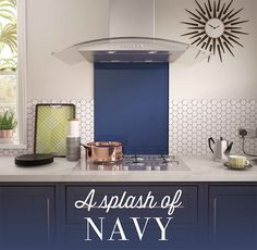 Get the look! French Navy blue glass splashback from our Impact GlassTM range. This piece looks fantastic as a splash of colour across neutral wall tiles.