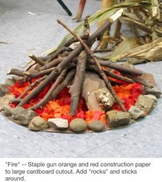 """""""Fire"""" -- Staple gun orange and red construction paper to large cardboard cutout. Add """"rocks"""" and sticks around. - For a camping """"read s'more books"""" theme Vbs Crafts, Diy And Crafts, Crafts For Kids, Cave Quest Vbs, Everest Vbs, Mount Everest, Teepee Party, Off The Map, Vbs 2016"""