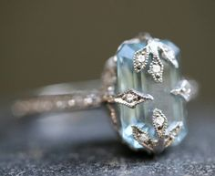 Aquamarine Emerald Cut Forest Ring<br>
