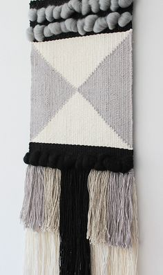 Woven wall hanging | Wall tapestry | Wall decor | Home decor | Wall weaving ivory, grey, black | Fiber art  This woven wall hanging is a true eye