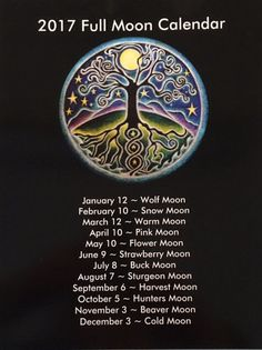2017 Full Moon Calendar tree