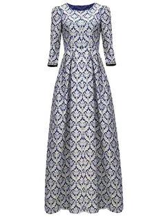 Floral Print Vintage Round Neck 34 Sleeve Maxi Dress For Women Modest Dresses, Cute Dresses, Vintage Dresses, Casual Dresses, Maxi Dresses, Latifa, Abaya Mode, Beautiful Prom Dresses, Cocktail Dresses