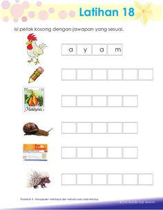 Aktiviti asas membaca Kindergarten Reading Activities, Preschool Writing, Reading Worksheets, Kindergarten Lessons, Printable Alphabet Worksheets, Kindergarten Worksheets, English Worksheets For Kids, Alphabet Coloring Pages, Malay Language