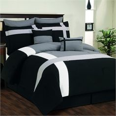 Toxanna Black, Grey and White 8 Piece Comforter Set