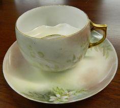 AKD Limoges Porcelain (France)   -  Mustache Cup & Saucer    (110x990)