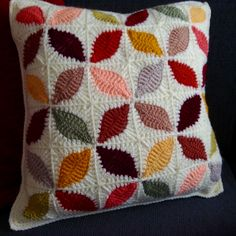 Crochet Flowers Design Stunning leaf design reversible crochet cushion cover, new home gift, revamp your living area with style - Crocheted cushion cover Diy Cushion Covers, Cushion Cover Pattern, Crochet Cushion Cover, Pillow Covers, Crochet Cushion Pattern Free, Cushion Cover Designs, Cushion Ideas, Sofa Covers, Diy Crochet Pillow
