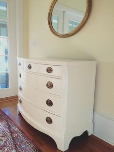 Drexel mahogany bow front dresser / chest painted white with federal / Hepplewhite drawer pulls