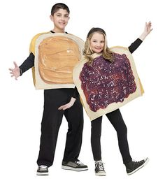 Perfect for two friends or brothers/sisters. Realistic looking peanut butter on foam bread tunic and realistic jelly on foam bread tunic. One size fits up to child size 14.