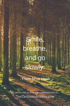 """""""Smile, breathe, and go slowly."""" ~ Thich Nhat Hanh"""