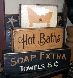 HOT BATHS PRIMITIVE BLOCK SIGN SIGNS