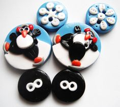 Button Penguins On Ice polymer clay button set    by digitsdesigns, $8.00