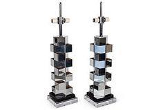 Oversized Metallic Cube Lamps, Pair